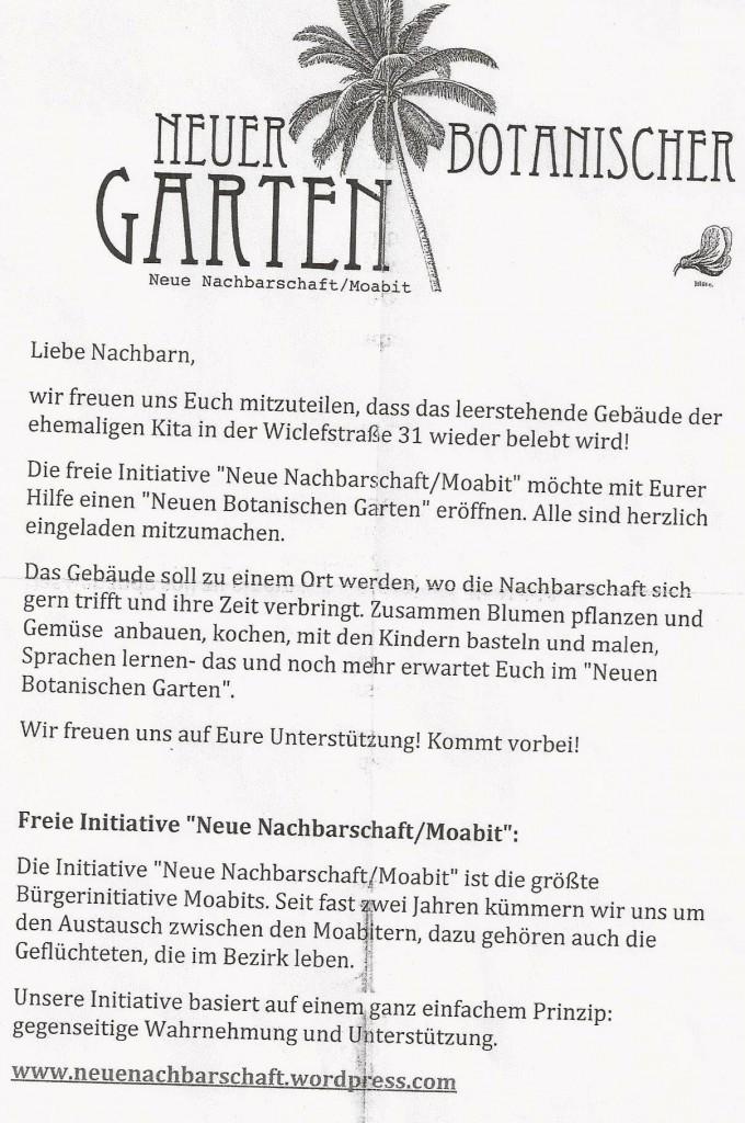 Dieser Flyer wurde von der NN vor der Besetzung verteilt.